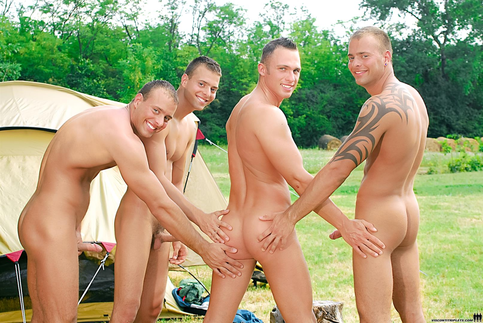 Visconti Triplets Jason Visconti Jimmy Visconti Joey Visconti Giuseppe Pardi Fucking During A Camping Trip Amateur Gay Porn 04 Visconti Triplets Tag Team Some Muscle Ass While Camping