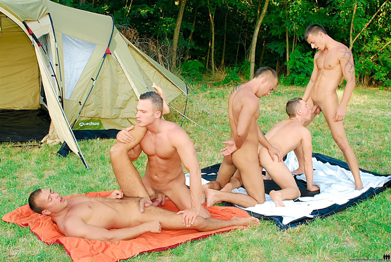Visconti Triplets Jason Visconti Jimmy Visconti Joey Visconti Giuseppe Pardi Fucking During A Camping Trip Amateur Gay Porn 14 Visconti Triplets Tag Team Some Muscle Ass While Camping