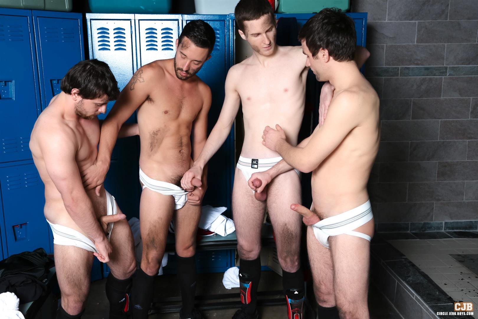 Circle Jerk Boys Andrew Collins and Isaac Hardy and Josh Pierce and Scott Harbor Soccer Guys Sucking Cock Amateur Gay Porn 04 After the Game, Soccer Plays Sucking Cock In The Locker Room