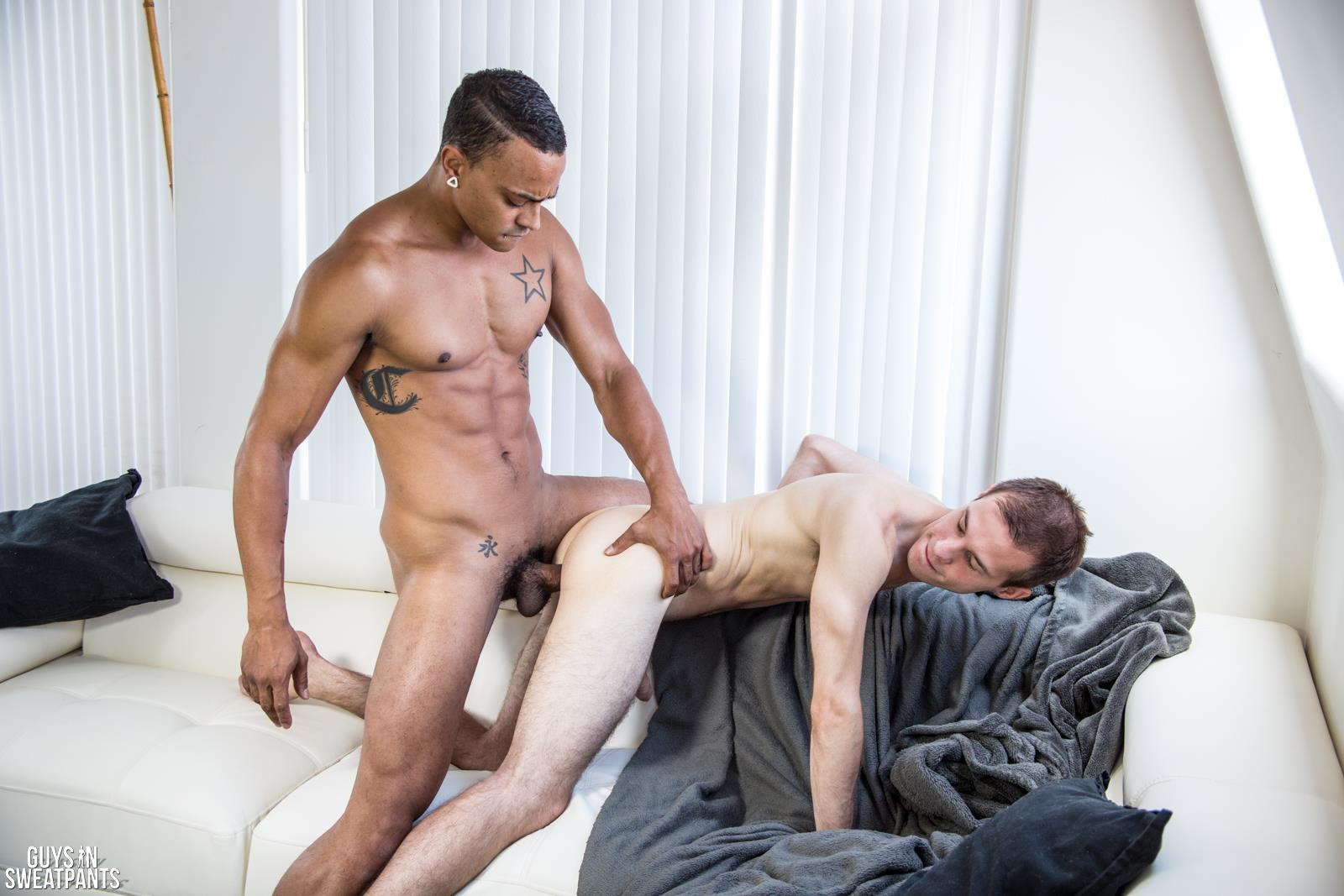 Guys-In-Sweat-Pants-Cameron-Jakob-and-Dillon-Hays-Interracial-Bareback-Breeding-Amateur-Gay-Porn-07 Versatile Hung Black Guy Fucks A White Boy With A Huge Uncut Cock