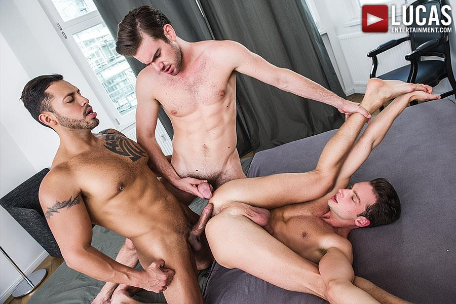 Lucas-Entertainment-Zander-Craze-and-Damon-Heart-and-Viktor-Rom-Big-Uncut-Cock-Bareback-Threesome-Amateur-Gay-Porn-03 Two Big Uncut Cock Tops Sharing A Bottoms Hungry Hole