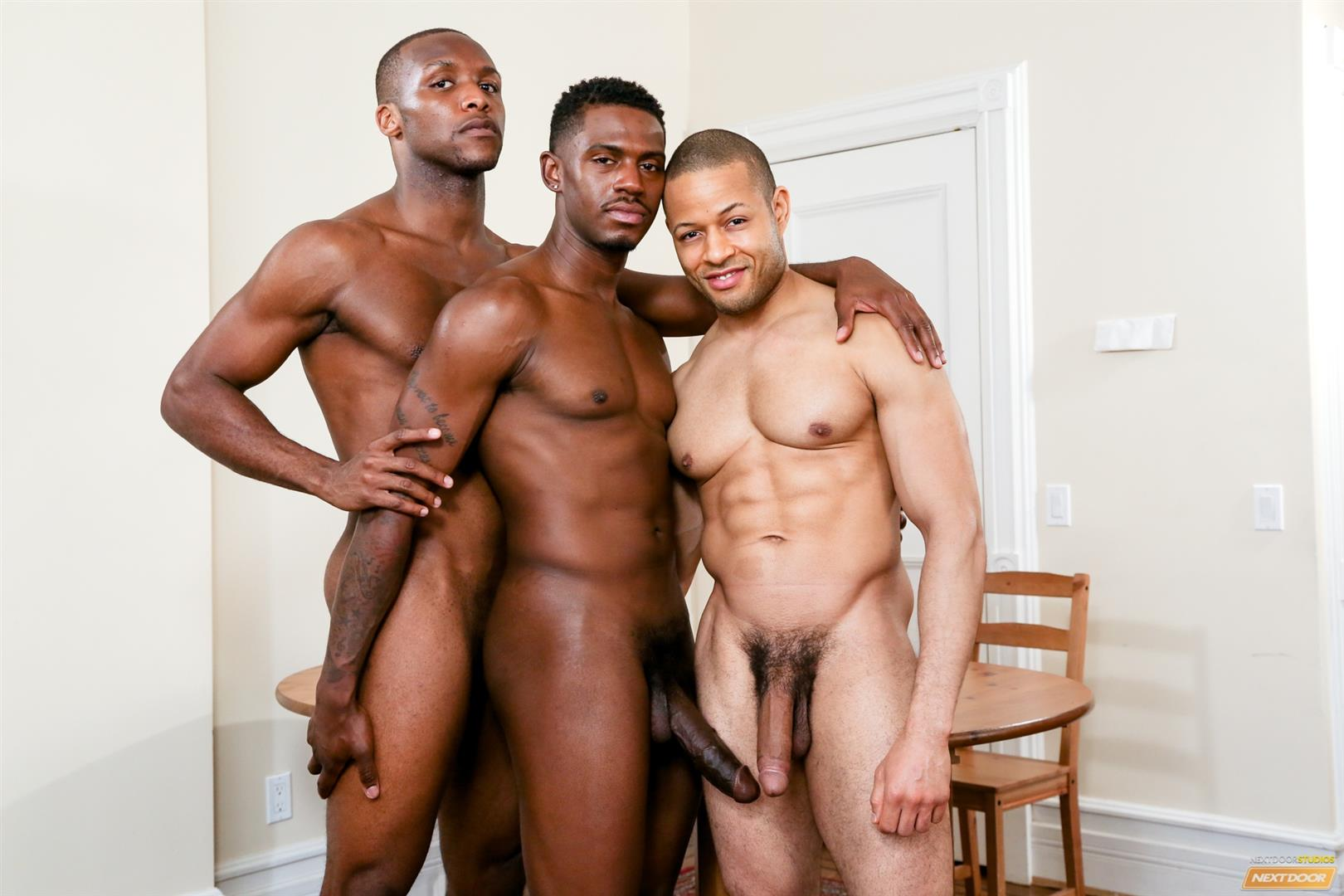 Next Door Ebony Krave Moore and Andre Donovan and Rex Cobra Big Black Cock Amateur Gay Porn 07 Three Black Guys Playing Strip Dominoes With Their Big Black Cocks