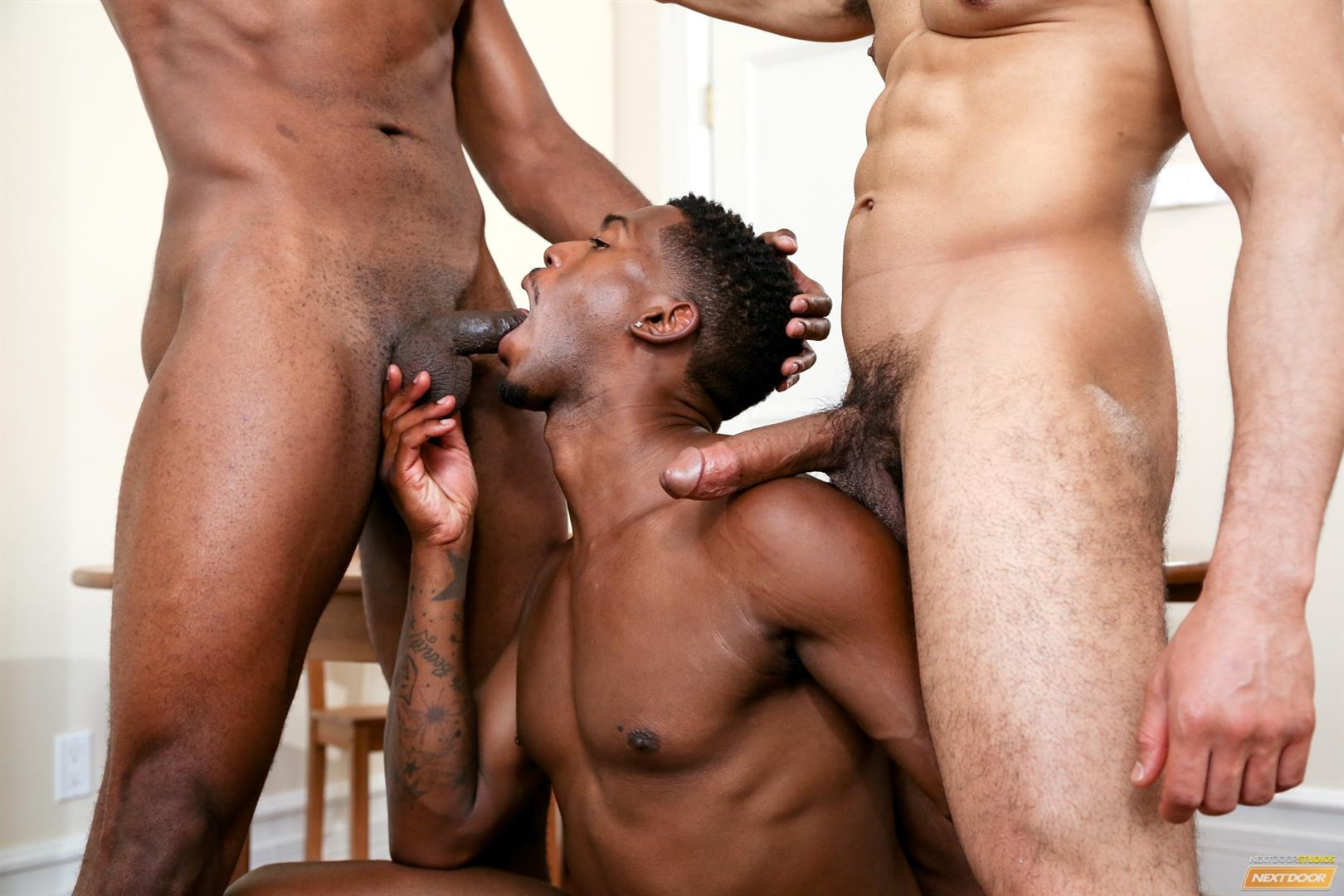 Next Door Ebony Krave Moore and Andre Donovan and Rex Cobra Big Black Cock Amateur Gay Porn 09 Three Black Guys Playing Strip Dominoes With Their Big Black Cocks