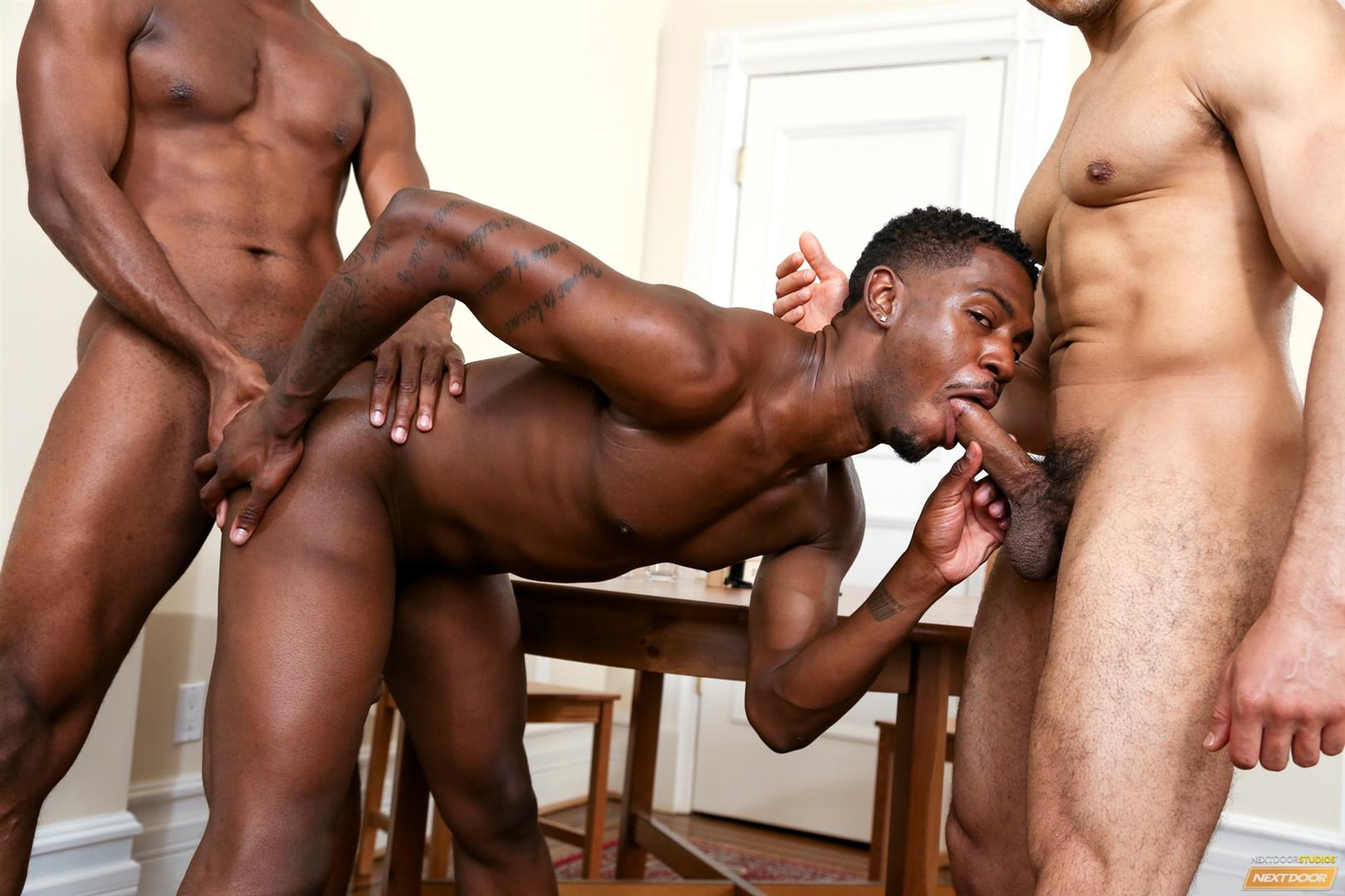 Next Door Ebony Krave Moore and Andre Donovan and Rex Cobra Big Black Cock Amateur Gay Porn 11 Three Black Guys Playing Strip Dominoes With Their Big Black Cocks