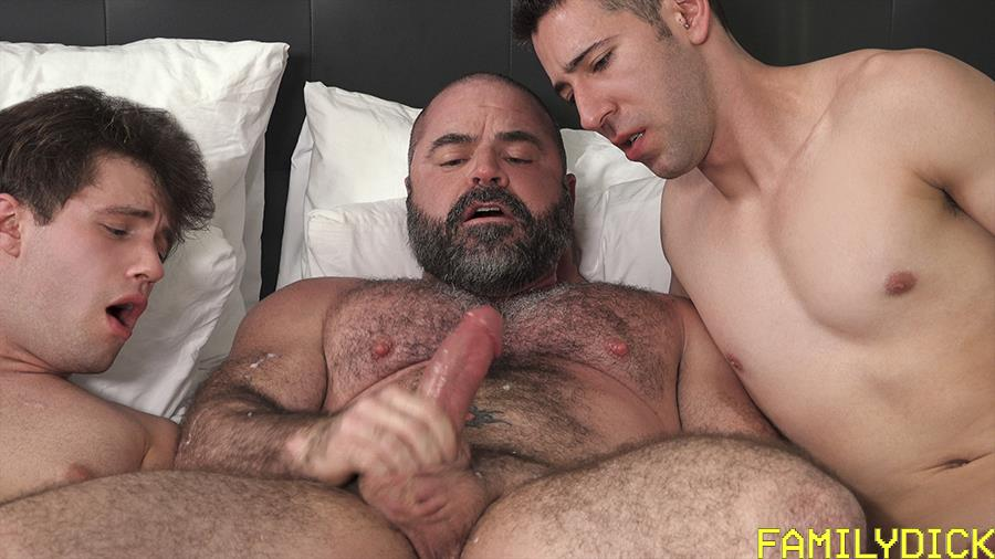 Family-Dick-Muscle-Bear-Stepdad-Bareback-Fucks-His-Stepsons-Gay-Sex-Video-15 Hairy Muscle Bear Daddy Takes Turns Bareback Fucking His Two Stepsons